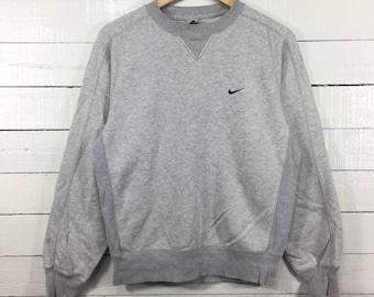 Rare!! NIKE Small Logo Crewneck Grey Colour Sweatshirt Casual Sportwear