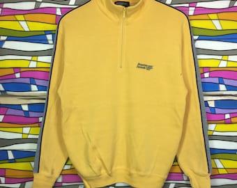 Vintage BENETTON Small Logo Spellout Half Zipper Yellow Colour Medium Size jumper clothing