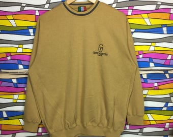 Rare!! Gianni Valentino paris Sweatshirt Spellout Small Logo yellow colour large size jumper pullover gift