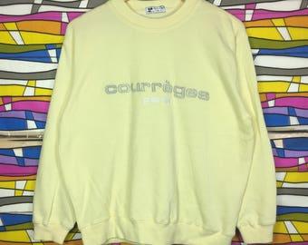 Rare!! Courreges Paris Sweatshirt Spellout Big Logo Embroidered Jumper nice Colour clothing