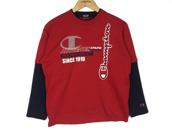 Rare!! CHAMPION Spellout Crewneck Red Colour Sweatshirt clothing