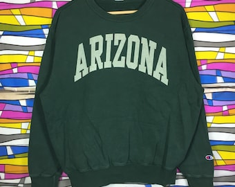 Rare!! Vintage CHAMPION Arizona Sweatshirt Spellout Large Size green colour pullover spellout
