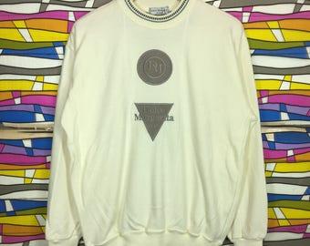 Rare!! DOLCE MARGARITA Spellout Crewneck White Colour LL Size Embroidered