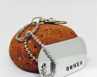 Owner Key Chain, bdsm gift, Sir Gift, BDSM, owner, dominant, submissive. DDLG Keyring, Dom, BDSM Lifestyle, hand stamped, chunky keyring
