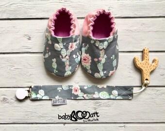 Prewalker shoes   Cactus moccasins   baby girl   baby booties   Baby shoes   cactus   MOCCASINS  pink moccasins   cactus baby   cactus mania
