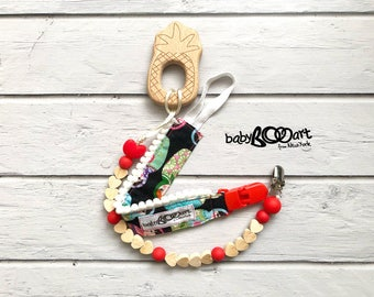 2 pacifier clips + wooden toy | pacifier holder | pacifier clip | Soother Clip | Universal clip | pineapple |  Pacifier holder set | Red
