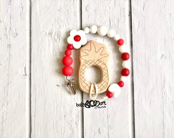 Pacifier Clip + wooden toy   Pacifier holder   Dummy Clip   soother clip   baby clips for pacifiers  