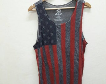 Sale!! Vintage USA Flag tank Top surf sport hip hop swag rapper skate Medium size