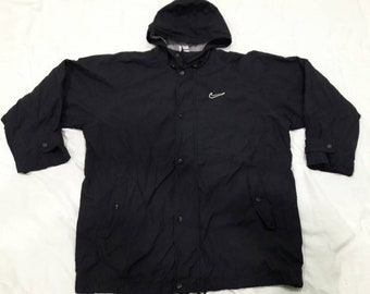 Vintage Nike Jacket Big Logo Black hoodie Large Size