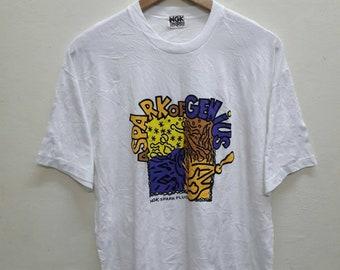 Vintage NGK Spark Plugs of Genius Tee shirts Made japan Motorsports racing
