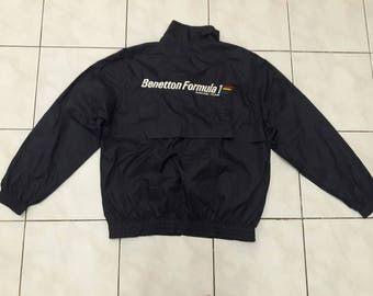 Vintage Benetton Formula 1  Racing Team big logo embroidered jacket windbreaker