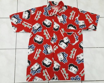 Vintage BETTY BOOP shirts fullprint sleepwear Nightwear nightclothes Medium size