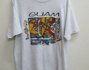 Sale!! Vintage GUAM Surfing T-Shirt Hawaii Island Aloha Top Tee Made USA
