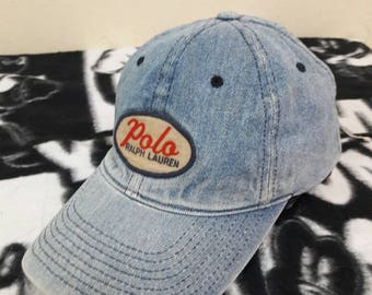 Vintage Polo Sport Ralph Lauren denim hat cap Leather adjustable