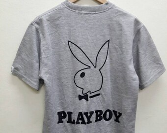 Vintage Playboy Big Logo Spell Out Embroidered tshirts Grey Colour Medium size Hip Hop Swag