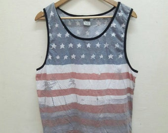Sale!! Vintage Hang Ten Tank Top flag of the U.S. State of Hawaii Hip Hop swag Stripes sports Skate