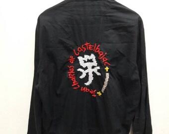 "Vintage Jean Charles De Castelbajac Big Logo Jacket embroidery harrington Zip up Black Pit 24""x27.5"""
