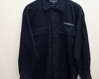 Vintage Polo Sport Ralph Lauren Marine Supply Shirt Long Sleeve work Wear