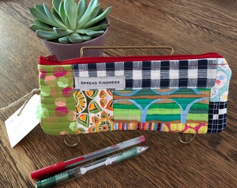 Scrappy, Handmade, Zipper Pouch, Quilted, Pencil Case, Glass Case, Lined, 100% Cotton, Spread Kindness