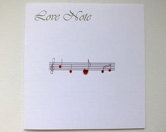 Love Note Cards, Love Card, Music Card, Music Lover Card, I Love You Card, Music Notes Card, Wedding Card, Anniversary Card, Engagement Card