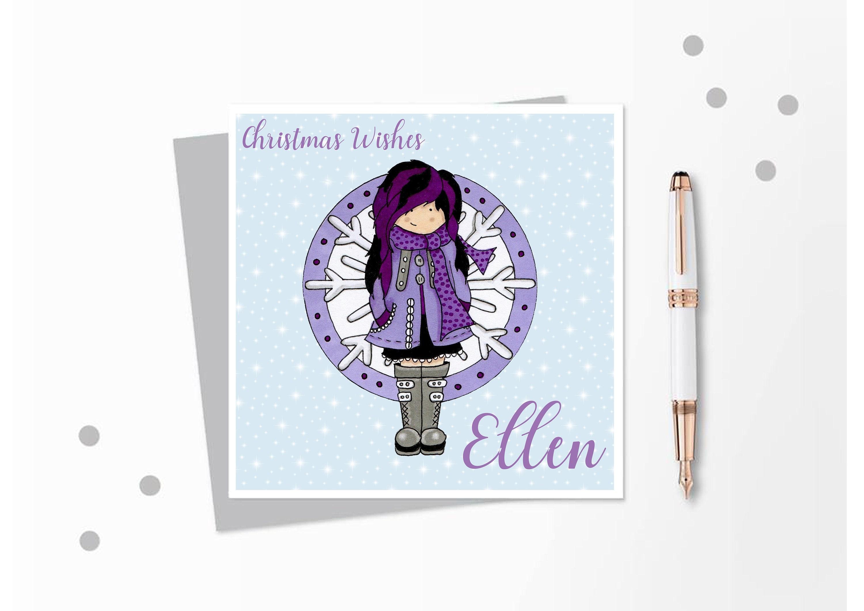 Christmas Card Girl Christmas Card Teen Christmas Card   Etsy