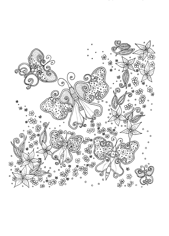 Schmetterling Färbung Seite Färbung Blätter Erwachsenen   Etsy