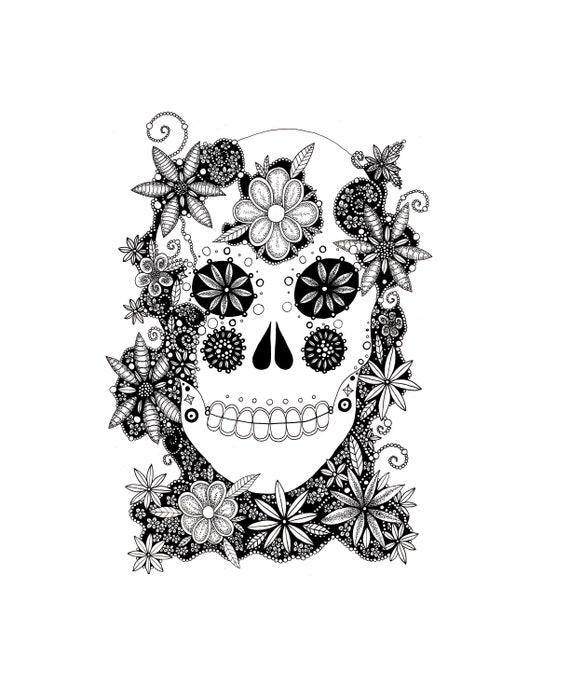 - Sugar Skull Coloring Skull Coloring Page Printable Coloring Etsy