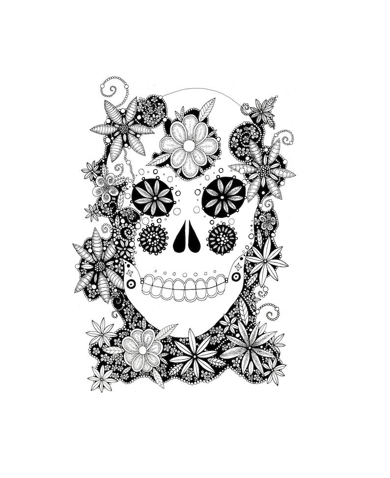 Sugar Skull Coloring, Skull Coloring Page, Printable Coloring, Adult  Colouring Page, Adult Coloring, Adult Coloring Page, Colouring Page