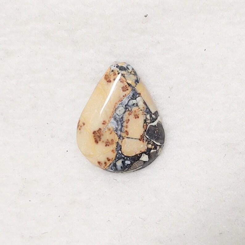 Maligano Jasper Designer Heart Cabochon Yellow Cream and Black