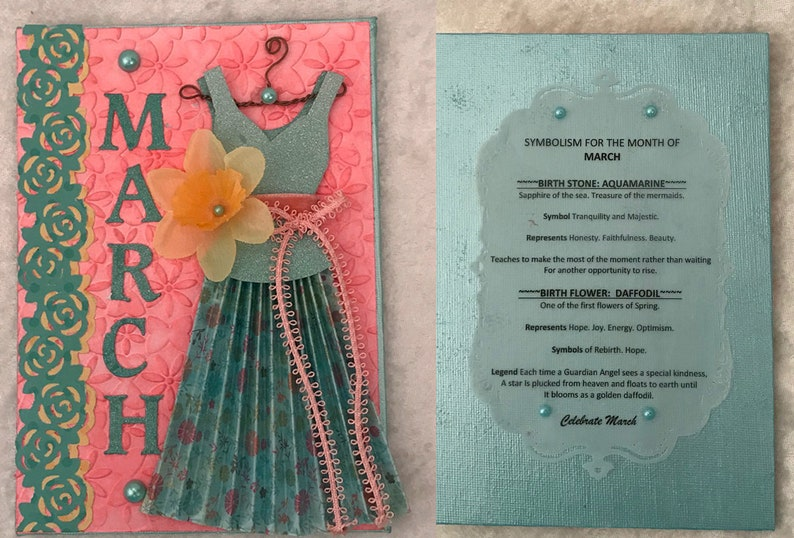 Paper Dress March / Zodiac Dress Card / Aries / Handmade Dress /  Personalized / Aquamarine / Daffodil / SHIPS FREE /OOAK /461