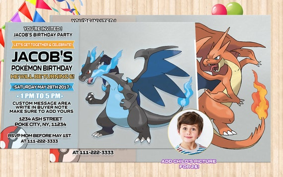 Pokemon Birthday Invitations Instant Download Custom Made