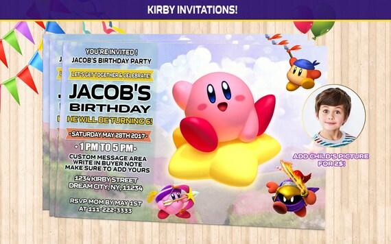 kirby birthday invitation kirby party invitation kirby etsy