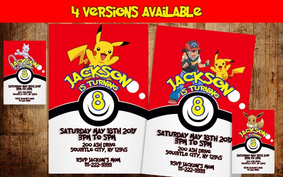 Pokemon Birthday Invitation DIGITAL Party