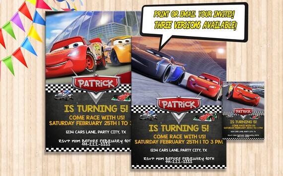 Cars 3 Birthday Invitation DIGITAL Party