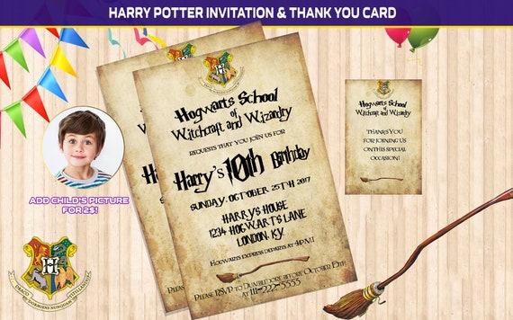 Harry Potter Invitation Harry Potter Birthday Harry Potter Etsy