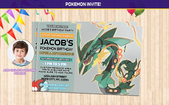 Pokemon Birthday Invitations Instant Download Custom Made Invitation Rayquaza Invite Mega Printable