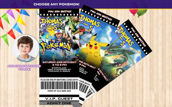 Pokemon Invitation Birthday Ticket