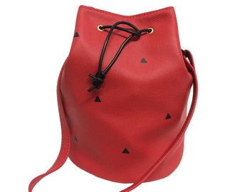 Hot Tub - Leather Bucket Bag - Red & Triangles