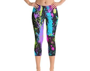 d8fe11f2d2422 Womens Capri Leggings, Retro 80s Neon Leggings, Paint Splatter Stretch  Capri's, Womens Yoga Pants, Polyester Spandex Capri XS S M L XL Size,