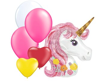 "6pc Party Pack, 35"" Inch Unicorn Mylar Latex Balloon Kit, Helium Balloons, Pink White Unicorn Horse Heart Supply Decor, Pool Party Balloons"