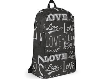 Waterproof Backpack, Love Word Art Print Backpack, Durable Medium Sized Laptop Backpack, Print Pocket Backpack, Lined Print Backpack Bag