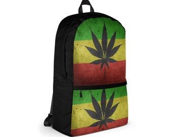 Waterproof Backpack, Marijuana Hemp Leaf Print Backpack, Durable Medium Sized Laptop Backpack, Pocket Backpack, Lined Print Backpack Bag