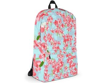 Waterproof Backpack, Nature Floral Print Backpack, Durable Medium Sized Laptop Backpack, Print Pocket Backpack, Lined Print Backpack Bag