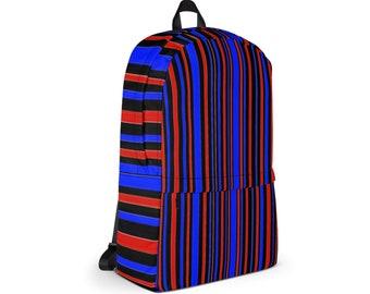 Waterproof Backpack,Stripes Print Abstract Backpack, Durable Medium Sized Laptop Backpack, Print Pocket Backpack, Lined Print Backpack Bag