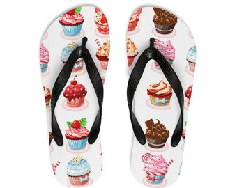 Unisex Flipflops, Food Cupcakes Print Sandals, Soft Durable Printed Flip Flops, Beach Shoes And Apparel, Polyester Rubber Flip Flops