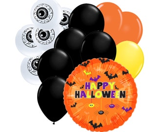 """14pc Party Pack, 18"""" Inch Happy Halloween Spiders Bats Mylar Latex Balloon Kit, Helium Balloons, Party Supply Decor, Eyeball Holiday Package"""