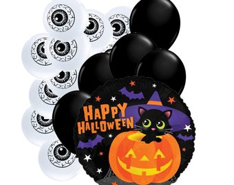 """16pc Party Pack, 18"""" Inch Happy Halloween Cat Pumpkin Mylar Latex Balloon Kit, Helium Balloons, Party Supply Decor, Eyeball Holiday Package"""