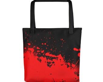 """15""""x15"""" Grunge Vampire Blood Totebag, Blood Splatter Tote Bag, Large Print Bag, Cloth Bag, Polyester Illustrated Reusable Bag, Grocery Tote"""