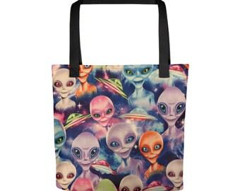 "15""x15"" Aliens UFO Totebag, Abstract Alien Art Print Tote Bag, Large Print Bag, Cloth Bag, Polyester Illustrated Reusable Bag, Grocery Tote"