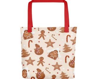 "15""x15"" Gingerbread Man Totebag, Christmas Tote Bag, Durable Large Print Bag, Cloth Bag, Polyester Illustrated Reusable Bag, Grocery Tote"
